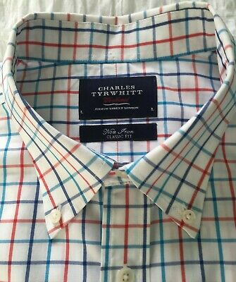 "Mens shirt Charles Tyrwhitt 17"" Red/blue check- excellent condition"