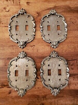 4 Ornate  Vernon Victorian Brass Double Switch Plates w/ screws Free Shipping