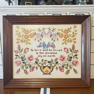 Vintage Columbia Minerva Cross Stitch completed TO LOVE & BE LOVED Sampler