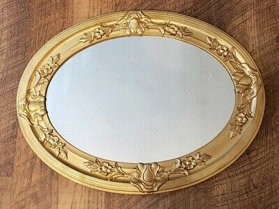 Vintage Antique Ornate Gold Gesso Wood Framed Wall Mirror 24.5x18.5 Oval