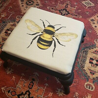 Vintage Foot Stool Footstool Cast Iron Upholstered Bumble Bee Free shipping!