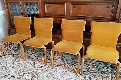 4 Bent Plywood Upholstered Mid Century Modern MCM Dining Chairs Bentwood Retro