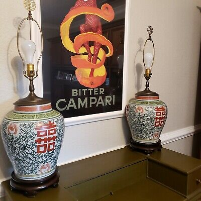 Pair Vintage Chinese Porcelain Ginger Jar Lamps Happiness  Free shipping!
