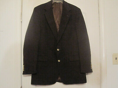Vintage Austin Reed Mens Burgandy&Black Tweed Houndstooth Two Button Blazer