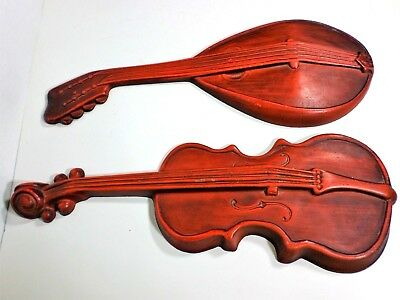 Vintage Royal 2 Wall Plaques Cast Aluminum Violin Mandolin Musical Instruments