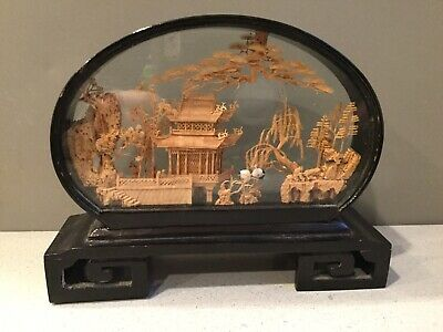 Chinese Hand Carved Detailed Cork Art Black Lacquer Cranes Tree Bonsai Pagoda