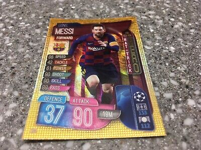 Topps Match Attax 19/20, Champions & Europa league,Hat-trick hero Lionel Messi 3