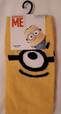 NEW WITH TAGS Mens Yellow Despicable Me Minion Fashion Socks size 6-11 39-46