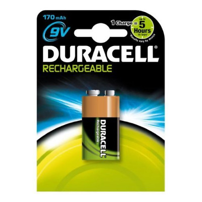 Duracell PP3 9v 170mAh Rechargeable Batteries Carded 1