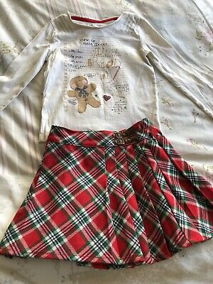 Girls Christmas Outfit Set Gingerbread Man Tartan Skirt Top Age 2-3 Years