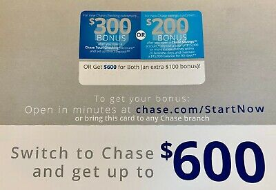 CHASE Bank $600 Coupon: $300 Checking + $200 Savings + $100 Bonus (Exp 1/11/20)