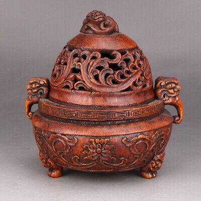 Vintage Openwork Chinese Bamboo Root Double Ears Incense Burner
