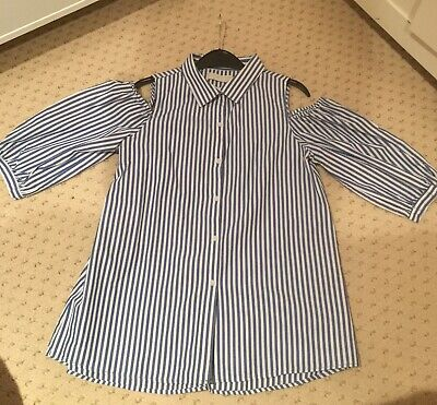 Blue And White Striped Cold Shoulder Shirt From Zara Age 13-14