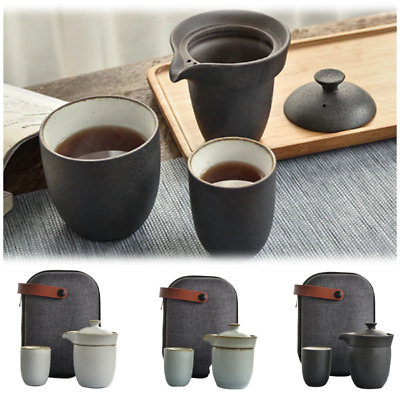 Portable Ceramic Travel Tea Set For Two Chinese Teapot Tea Cup With Case & Lid