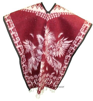 HEAVY BLANKET Mexican PONCHO GALLOS 10 RED ONE SIZE FITS ALL Blanket Gaban