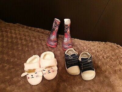 Toddler girls clarks/primark shoes size 5 1/2 G and size 6 slippers