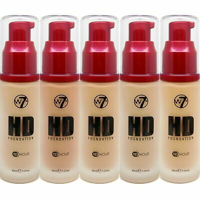 W7 HD Foundation Pump - BUFF, SAND, NATURAL, BEIGE, TAN, LONG LASTING 12HR 30ml