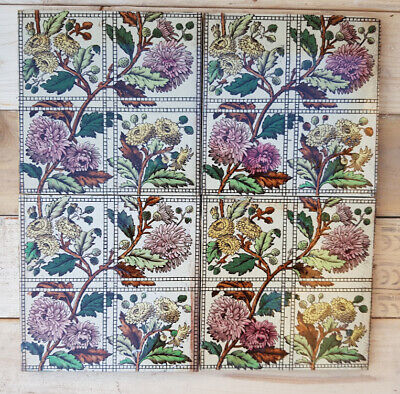 Four Victorian (1884) Arts and Crafts 'chrysanthemum' tiles