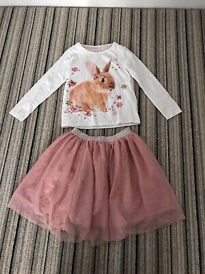 Girls 5-6 Party Outfit Sparkly Pink Tulle Skirt And Rabbit Top