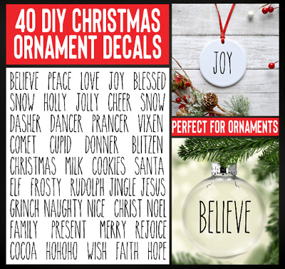 41 RAE DUNN Inspired DIY Christmas Ornament decals Vinyl sticker Holiday Tree