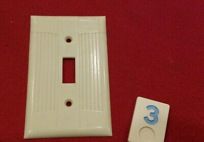 Ivory Vtg Ribbed Deco Single Gang EAGLE TUXEDO Switch Cover Plate Bakelite - BB3