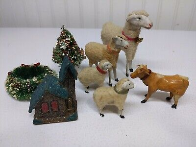 Lot Of Early Old German Wooly Sheep Putz Christmas Nativity Easter 8 Items