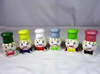 6 Vintage Chef Spice Canisters Shakers Japan Container Set