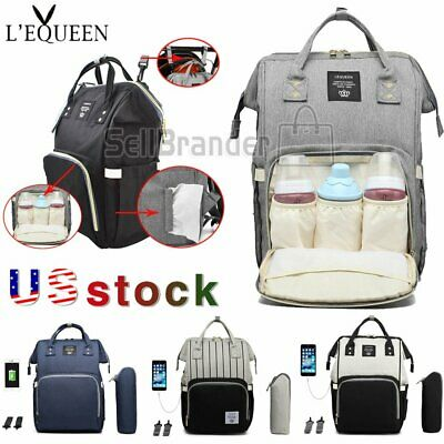 LEQUEEN Nappy Diaper Bag USB Charging Mummy Nursing Baby Care Women Backpack
