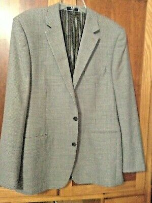 Mens Sz 44 L Sport Coat Suit Jacket Grey Tan Mini Hounds Tooth Suede Elbow Patch