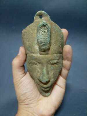 RARE ANCIENT EGYPTIAN ANTIQUES Pharaoh King AKHENATEN Bronze Mask Worship 1342BC