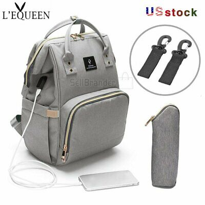 LEQUEEN USB Interface  Mom Diaper Bag Backpack Large Capacity Baby Nursing Bag