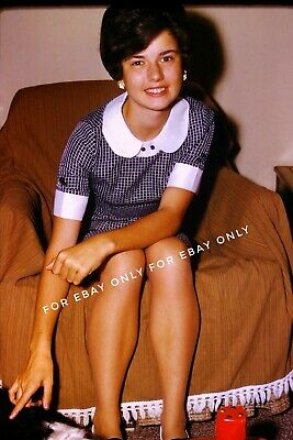 Vintage Old 1967 Photo Slide of Pretty Teenager Girl in Cute Dress 1960s Fashion