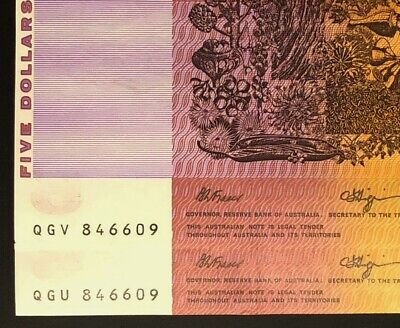 MATCHING PAIR of $5 Notes * SAME SERIAL NUMBER * Consecutive Prefixes * UNC!!