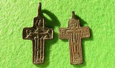 ANTIQUE 17-19th Russian Orthodox Pectoral 2pcs Cross Old Believers Christian #1