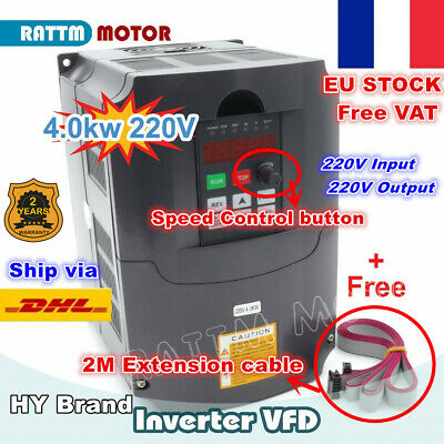 【FR】4KW 220V HY Variable Frequency VFD Inverter Drive 5HP 18A+2M Extension Cable