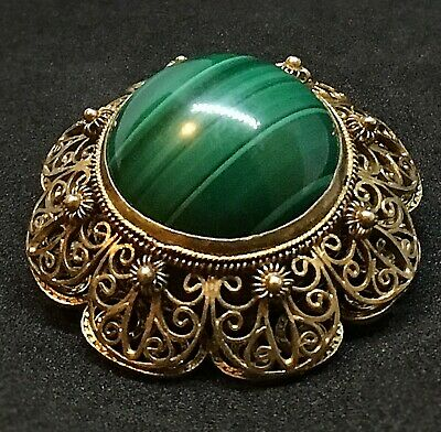 Chinese Export Antique Filigree Sterling Silver Gold Vermeil Malachite Brooch