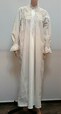 Antique Victorian White Cotton Full Length Pin Tucks Nightgown