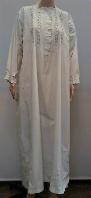 Antique Victorian White Cotton Full Length Broderie Anglais Pin Tucked Nightgown