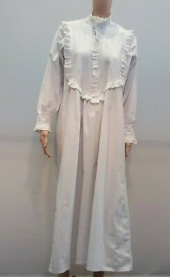 Antique Victorian White Cotton Full Length Nightgown