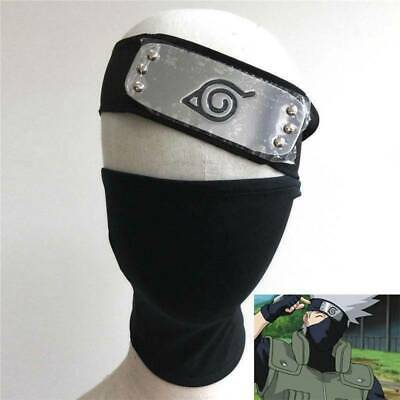 2pcs/set Naruto Hatake Kakashi Cosplay Black Mask + Leaf  Village Ninja Headband
