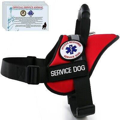Service Dog Harness Waterproof Pet Vest - Reflective - No Pull Handle - Patches