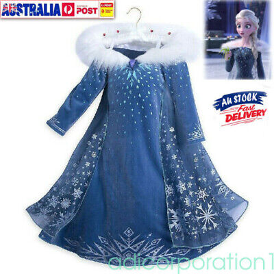 Girls 2020 Frozen 2 Princess Elsa Fancy Dress Up Cosplay Costume Party Outfit AU