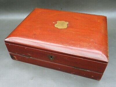 Antique or vintage mahogany ladies writing slope with inkwell