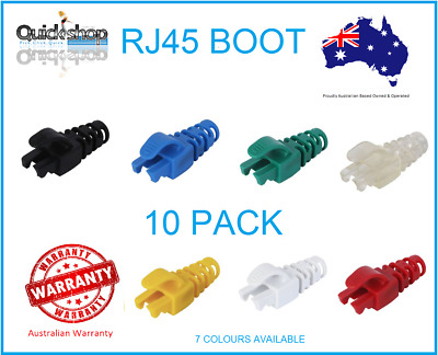 RJ45 Strain Relief Boot for Ethernet Round Cable 6mm Ø,CAT5e/6,10 Pack 7 Colours
