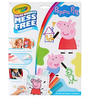 NEW Peppa Pig Crayola Colour Wonder Mess Free Colouring Pages Markers Kids Gift!