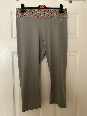 F&f Active Gym Leggings Grey Leopard Neon Pink And Yellow UK14 3/4 Length