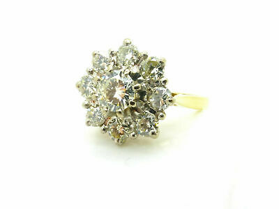 14K Yellow Gold Over 2Ct Round Cut Diamond Cluster Engagement Wedding Ring