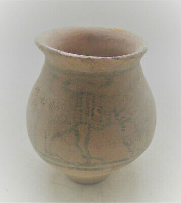 Ancient Indus Valley Harappan Terracotta Vessel With Beast Motifs 2000Bc
