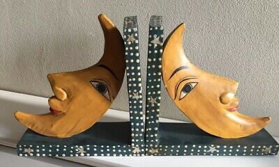 Vintage Wooden Moon Bookends
