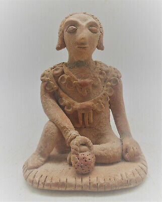 Circa 1000Bce Ancient Near Eastern Terracotta Seated Warrior Figurine
